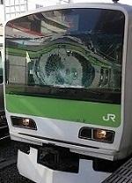 秋葉原駅の電車フロントガラス