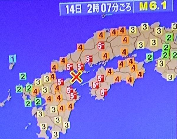 各地域の地震発生状況
