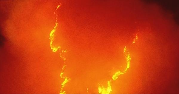 燃えている山の画像