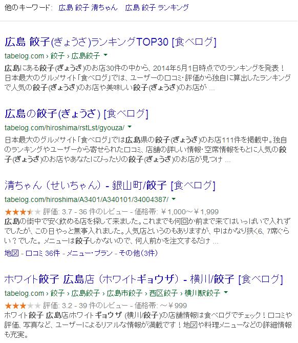 広島餃子(Google検索)