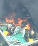 爆発したタンカーの画像