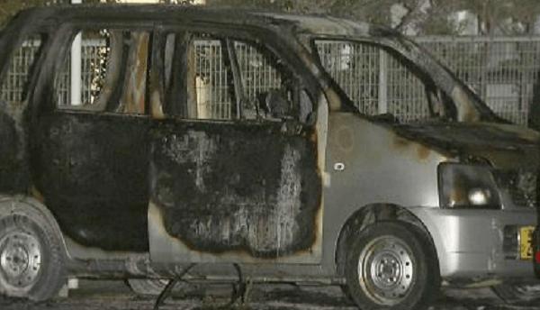 炎上した車の画像