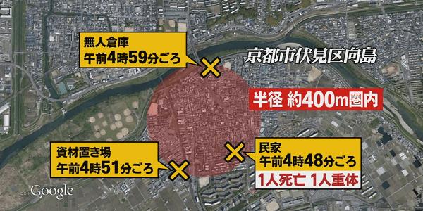 相次ぐ放火現場の地図