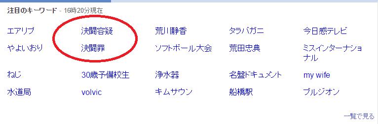 決闘容疑のリアルタイム検索数