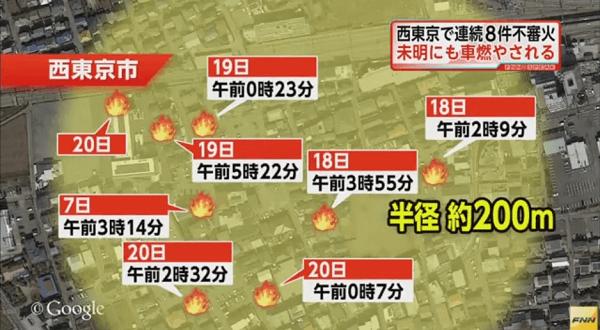 西東京都東町の連続放火事件の地図画像