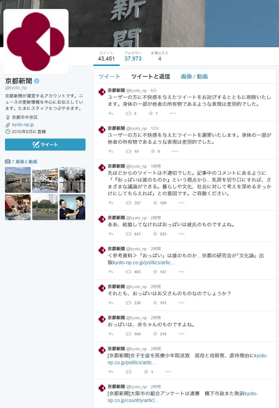 京都新聞がTwitterに投稿したおっぱい画像