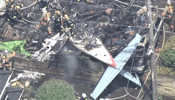 墜落したセスナ機の画像