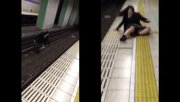 名古屋市営地下鉄名城線・砂田橋駅で転がる女子高生の画像