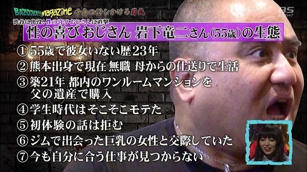テレビ出演した杉並区に住む岩下竜二さんの顔写真画像