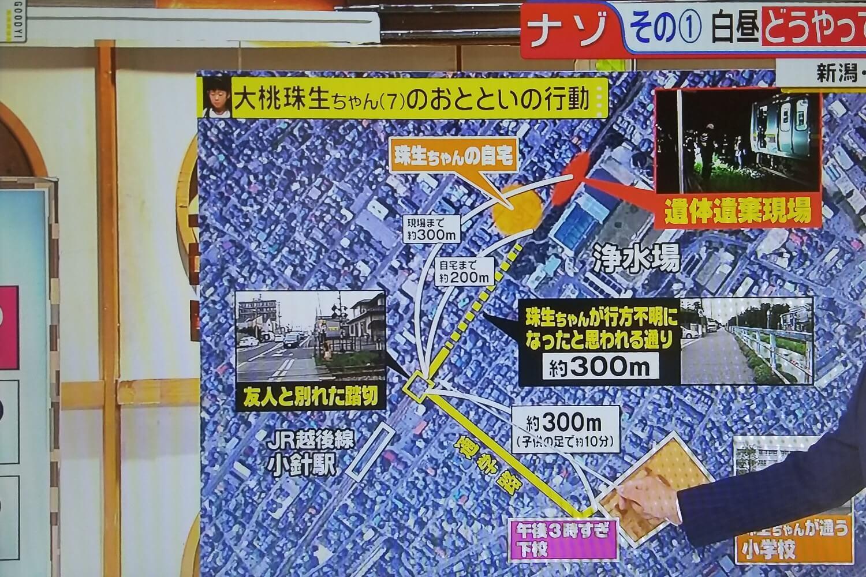 新潟小2女児殺人事件の経緯と現場付近の距離感などのイラストイメージ画像