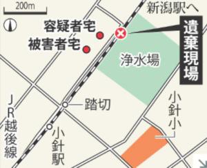 小林遼容疑者の自宅と大桃珠生ちゃんの自宅の距離感を描いたイラスト