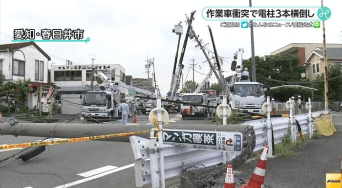 愛知県春日井市の電柱衝突事故ニュースのキャプチャ画像