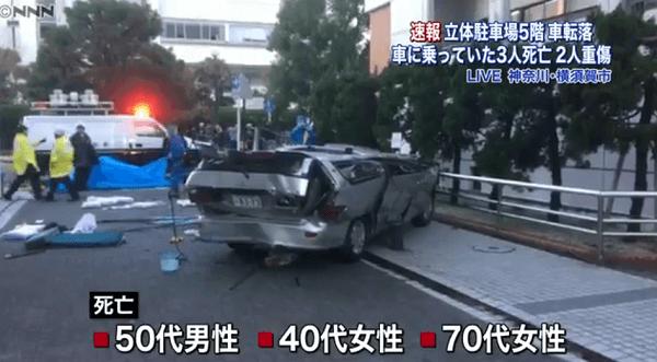 神奈川県横須賀市小川町の立体駐車場転落事故ニュースキャプチャ画像