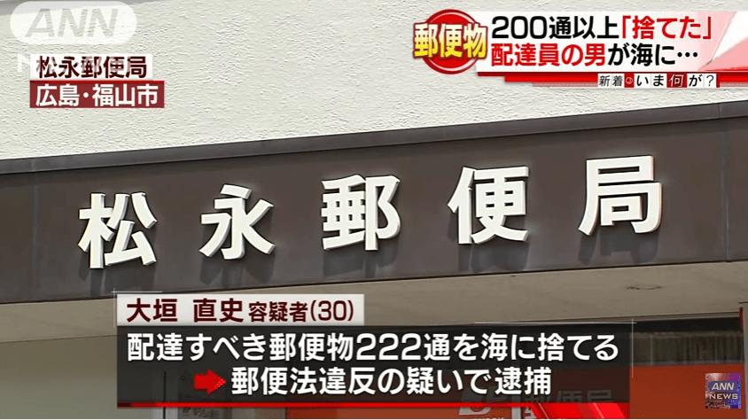 広島県福山市の松永郵便局の郵便物を海に捨てるニュースのキャプチャ画像