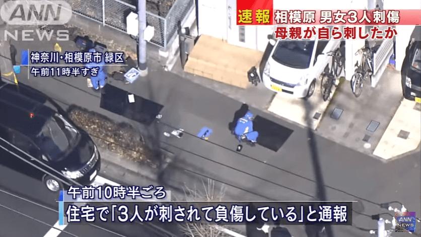 神奈川県相模原市緑区九沢の男女3人刺傷事件のニュースのキャプチャ画像