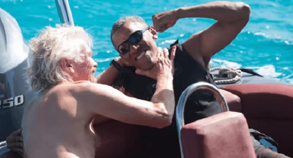 オバマ氏とリチャード・ブランソン氏の画像