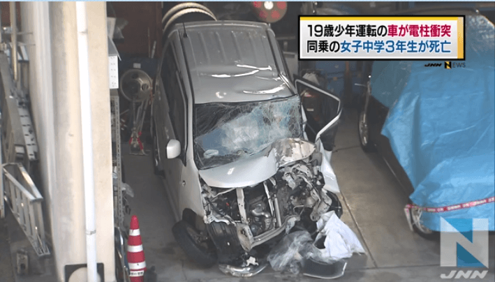 京都府舞鶴市溝尻町の飲酒運転で電柱に衝突し少女が死亡した事故のニュースのキャプチャ画像