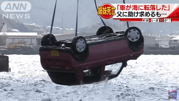 長崎県長崎市小ケ倉町で車が海に転落する事故のニュースのキャプチャ画像