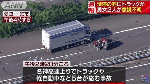 名神高速で多重事故のニュースのキャプチャ画像