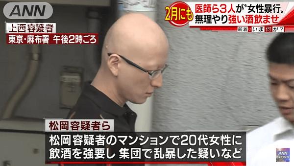 東京慈恵会医科大学病院の医師ら集団準強姦容疑で逮捕のニュースキャプチャ画像