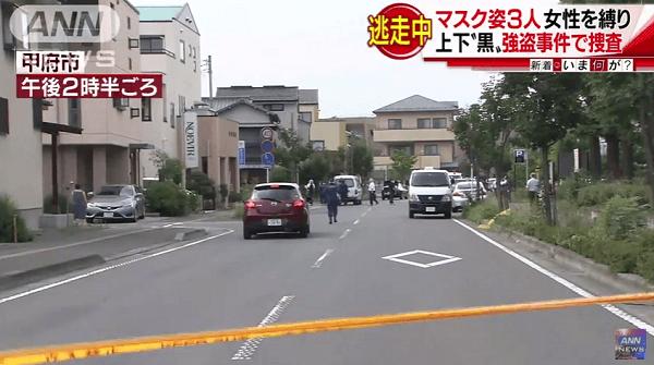 甲府市寿町で強盗事件のニュースキャプチャ画像