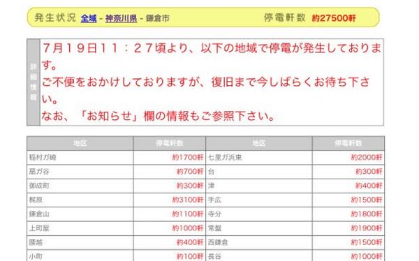 鎌倉市と藤沢市で大規模停電のニュースキャプチャ画像