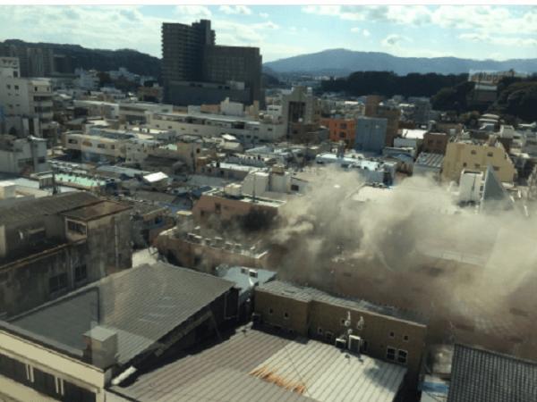 いわき駅付近で火事のニュースキャプチャ画像