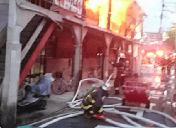門真市大倉町で大規模な火事のニュースキャプチャ画像