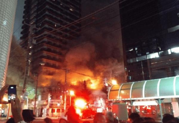 札幌市中央区のすすきので火事の画像