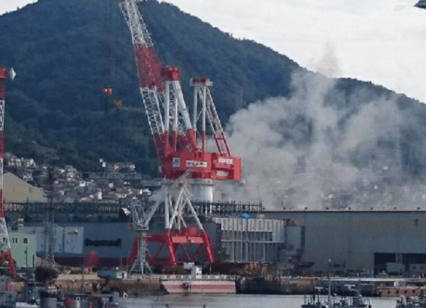 呉市昭和町の造船所JMUで火事