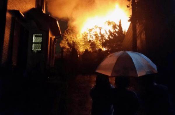 和泉市王子町付近で火事のニュースキャプチャ画像