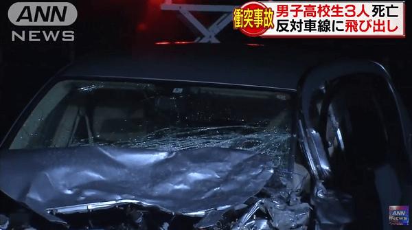 岡山市北区玉柏の県道で高校生の車が正面衝突した死亡事故の画像