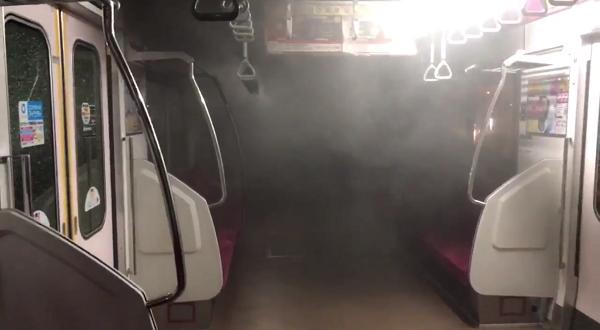 相鉄線二俣川駅の電車に落雷で発煙、煙が充満している現場の写真画像