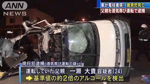 一瀬大貴容疑者が飲酒運転で事故で車が大破した画像