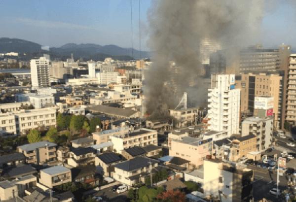 岡山市北区清心町のノートルダム清心大学付近で火事の画像