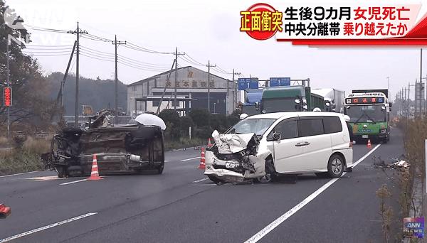 上三川町磯岡で軽自動車とワゴン車の正面衝突事故のニュースキャプチャ画像
