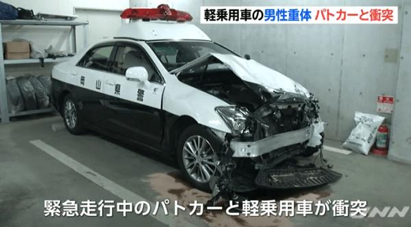岡山県早島で緊急走行中パトカー衝突事故のニュースキャプチャ画像