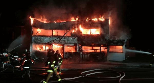 盛岡市北山で火事の現場の画像