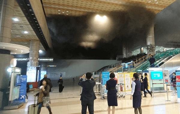 韓国・金浦空港で火事の画像