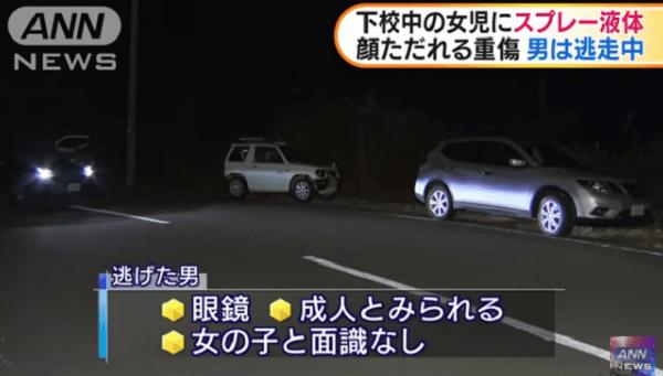 田辺市で小学生にスプレーかける傷害事件のニュースキャプチャ画像