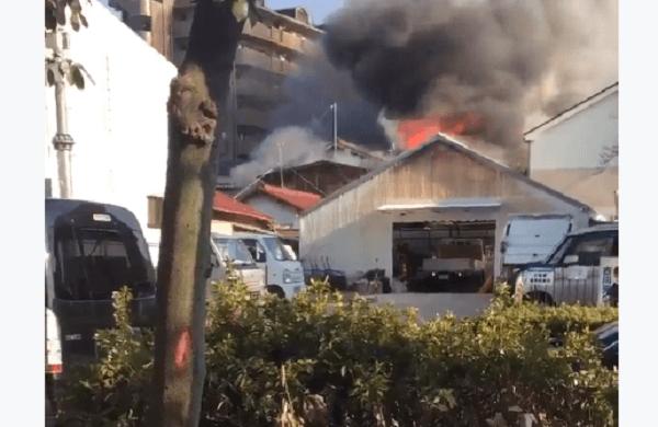 名古屋市守山区小幡で火事の現場の画像