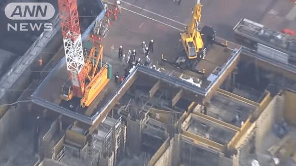 東京オリンピック選手村の建設現場で死亡事故のニュースのキャプチャ画像