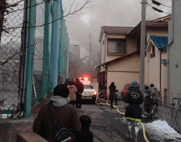 杉並区阿佐谷北の住宅で火事のニュースのキャプチャ画像