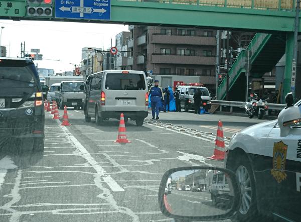 大田区大森西の環七でダンプと自転車の事故の画像