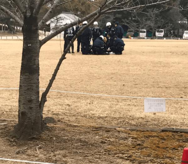 姫路城付近で男が刃物を振り回す事件の現場の画像