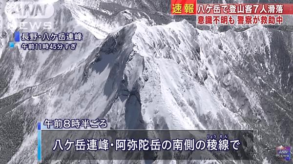 八ケ岳で滑落事故のニュースのキャプチャ画像