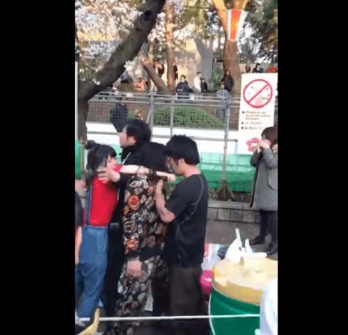 上野公園で喧嘩騒ぎの動画のキャプチャ画像