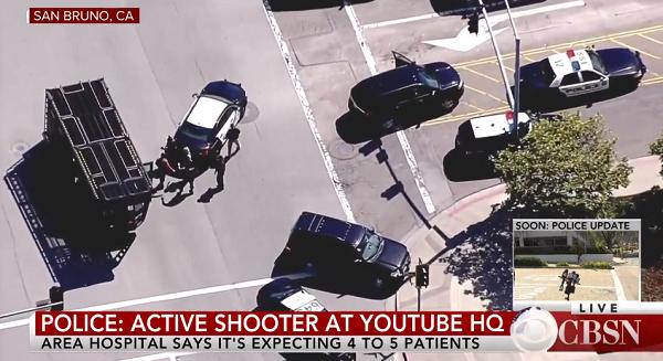 カリフォルニアYouTube本社の銃撃事件ニュースのキャプチャ画像