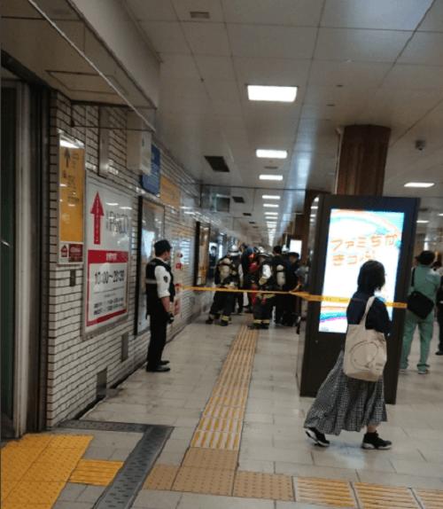 天神駅で分電盤が爆発する火災の画像