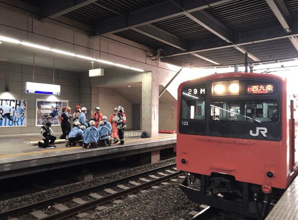 ユニバーサルシティ駅で飛び込み自殺の人身事故の画像